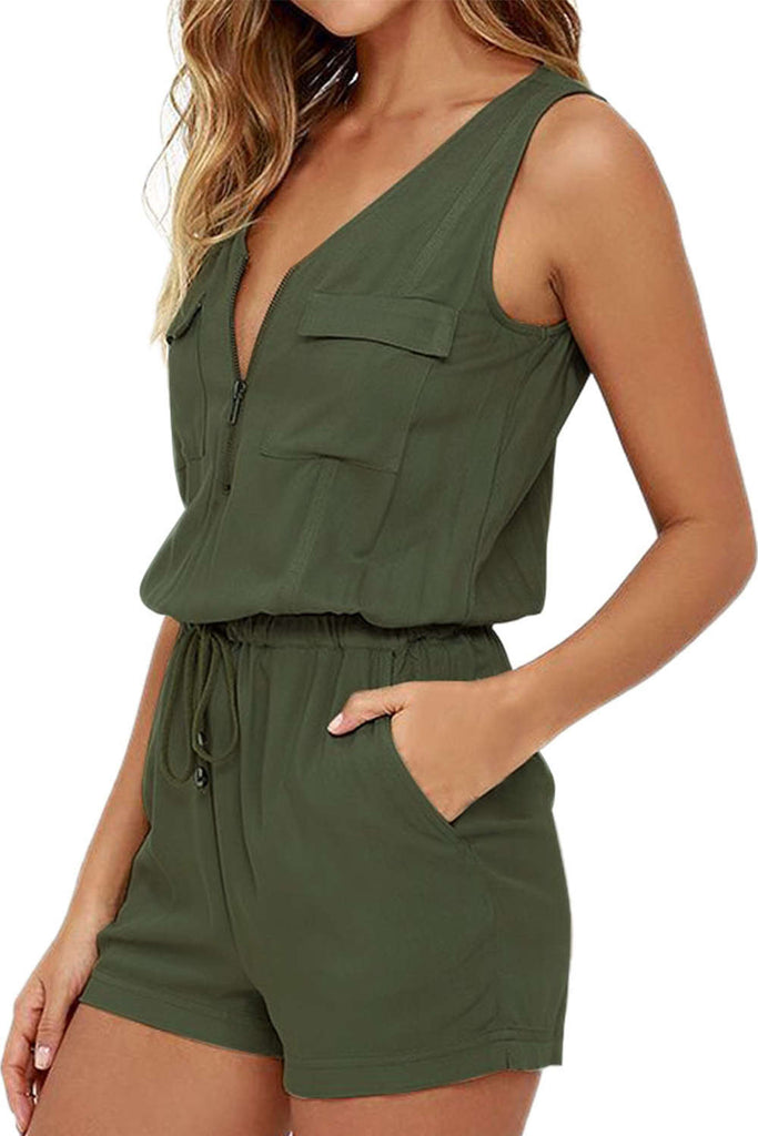 Iyasson Sexy Army Green V-Neck Front Zipper Rompers