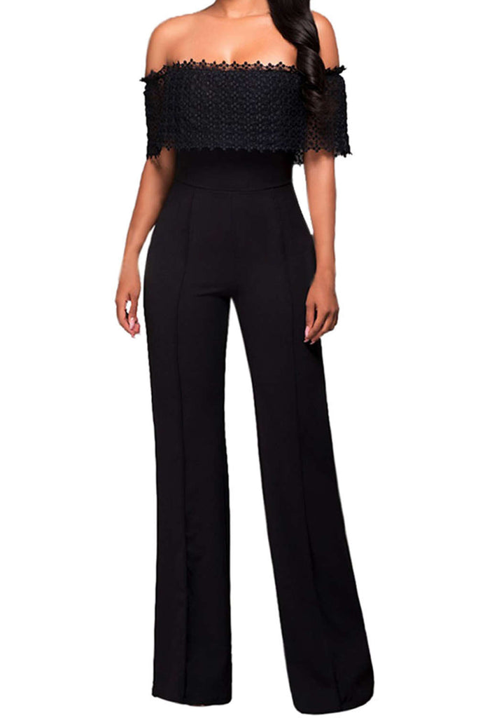 Iyasson Off Shoulder High Waisted Wide Leg Jumpsuits