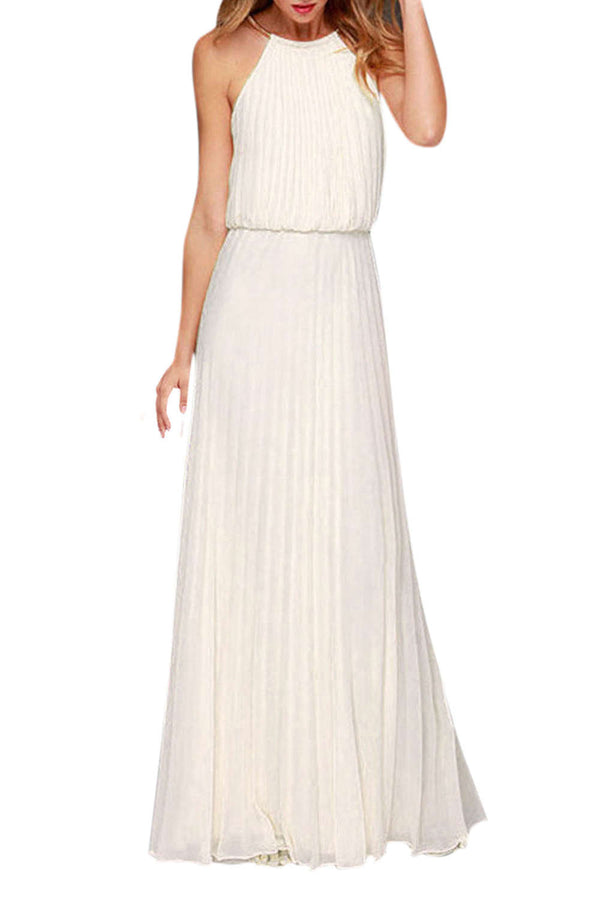 Iyasson Back Hollow Pleated Sleeveless Maxi Prom Dress