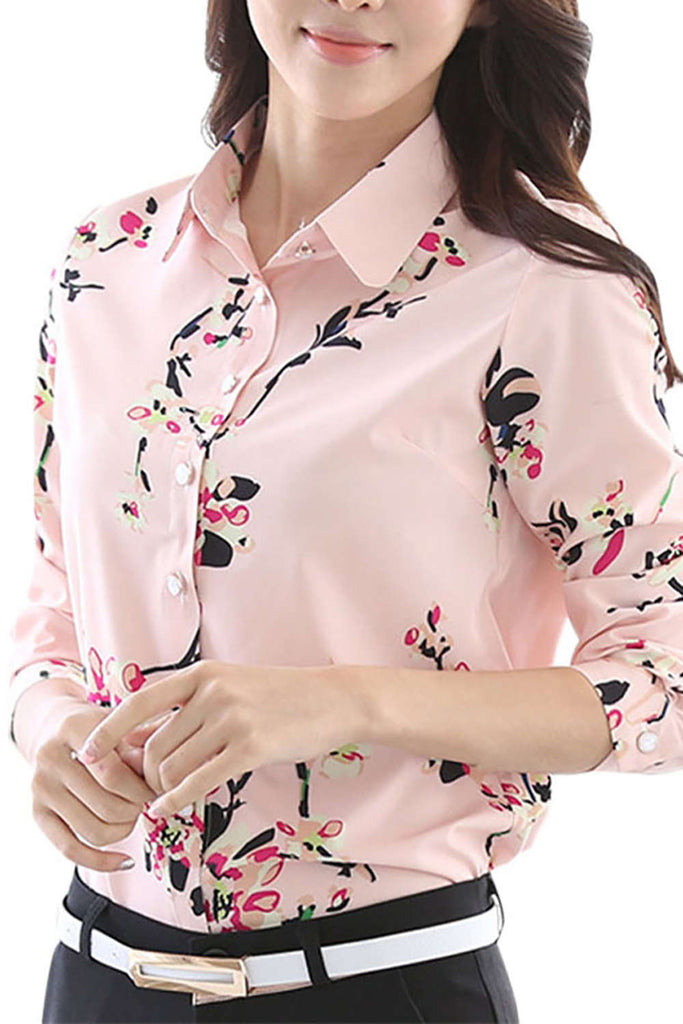 Iyasson Plus Size Button Long Sleeve Printed Shirt