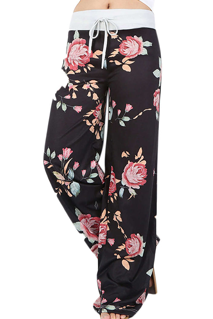 Iyasson High Waist Floral Print Drawstring Wide Leg Pants