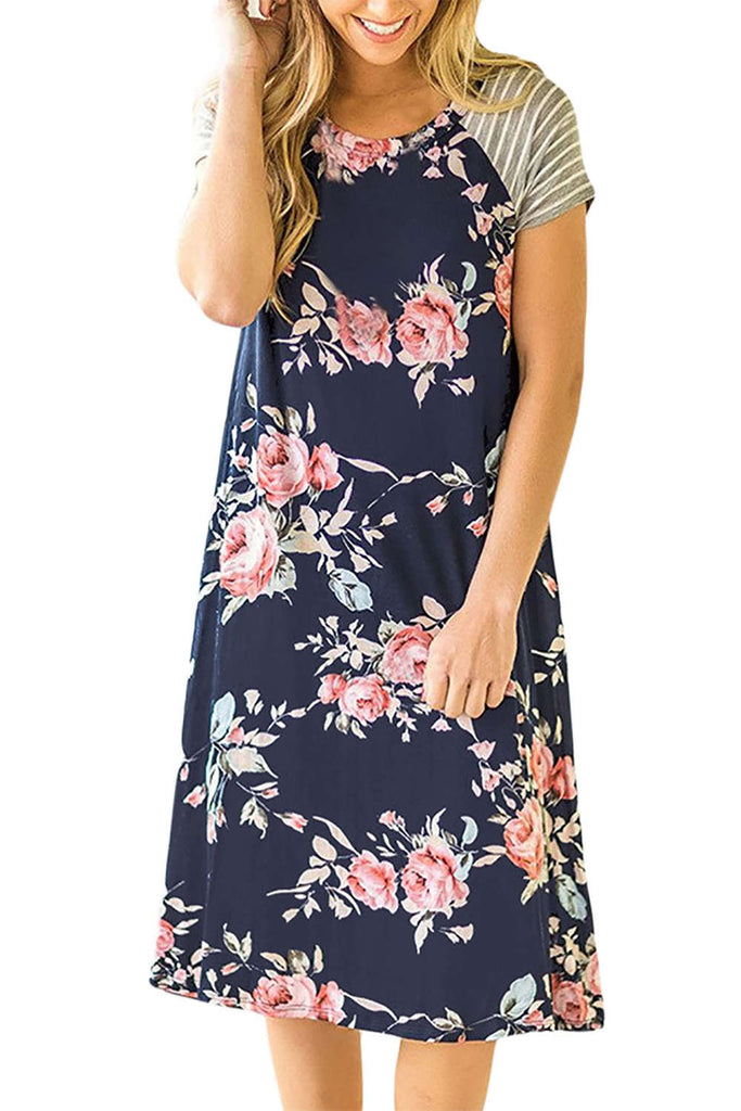 Iyasson Floral Print A-line Loose Knee Length Dress