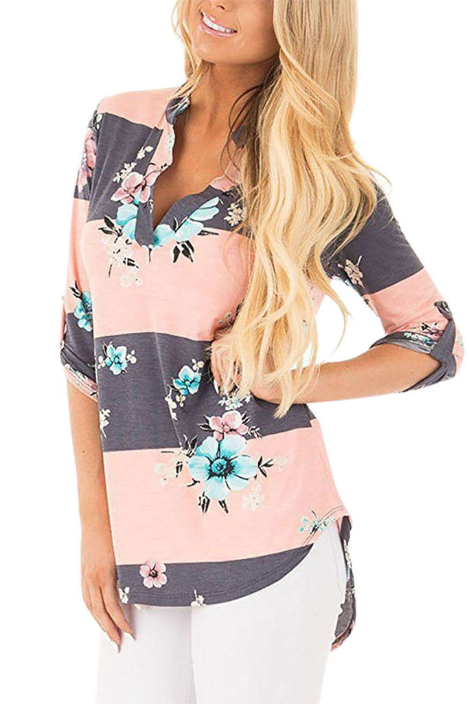 Iyasson V Neck 3/4 Sleeve Floral Print Blouse