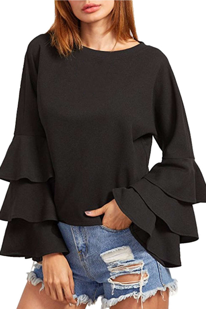 Iyasson Women Round Neck Tiered Ruffles At Sleeves Blouse