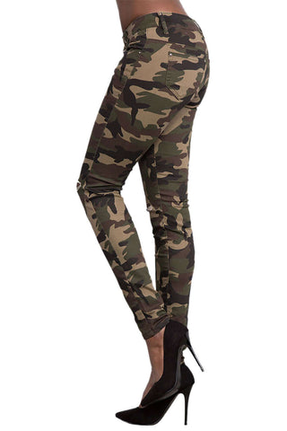 Iyasson Women's Knee Ripped Hole Camouflage Jeans