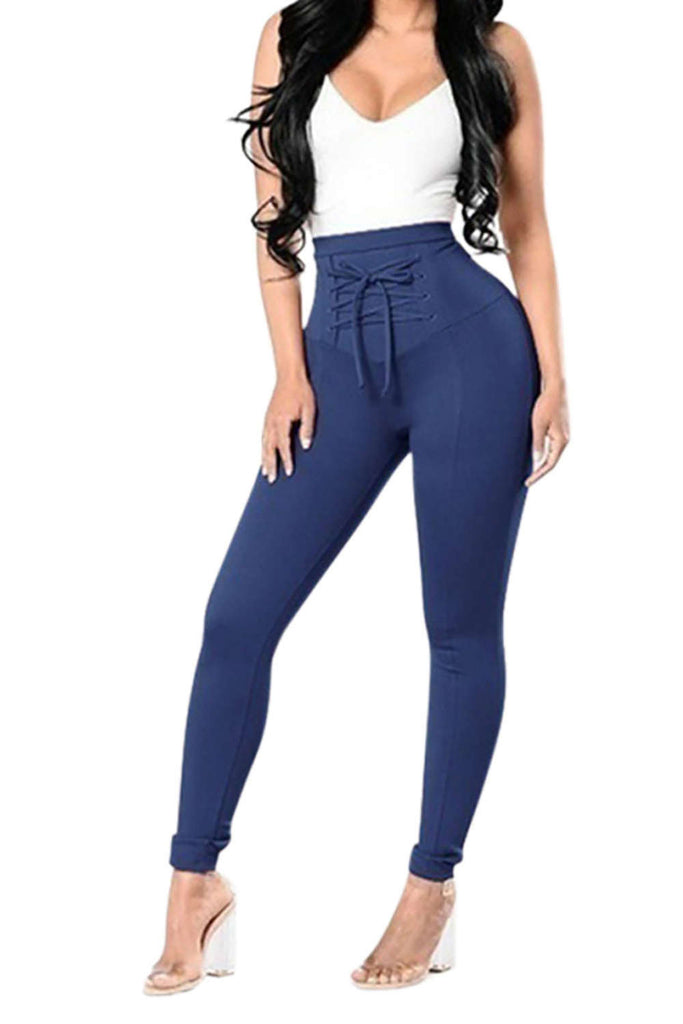 Iyasson Drawstring Elastic High Waisted Leggings