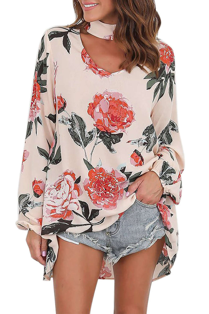 Iyasson Women Chiffon Summer Long Sleeve V Neck Plus Size Blouse