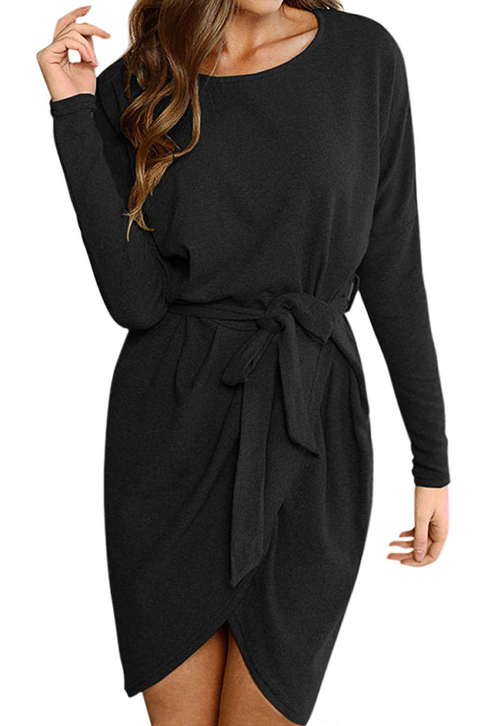 Iyasson Long Sleeve Belted Wrap Mini Dress