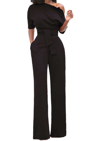Iyasson One Shoulder Wide Leg Jumpsuit