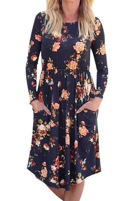 Iyasson Long Sleeve Floral Midi Dress
