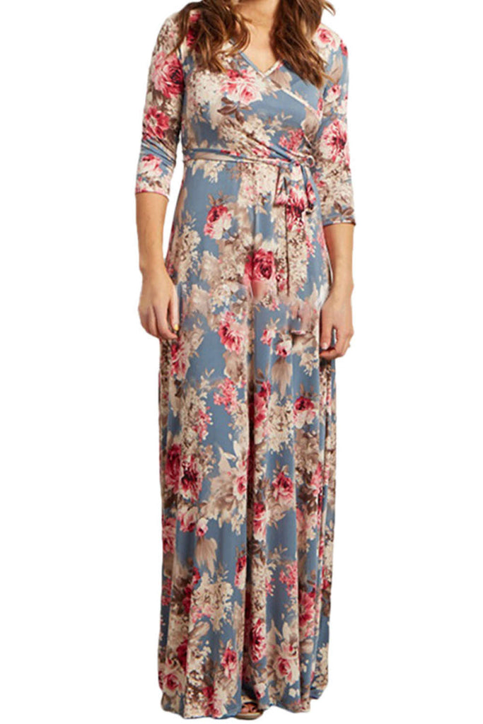 Iyasson Long Sleeve Floral Wrap Maxi Dress