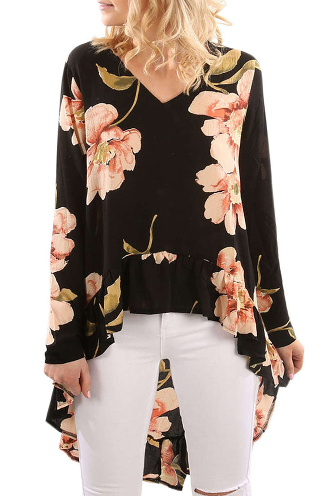 Iyasson Long Sleeve V Neck Floral Blouse