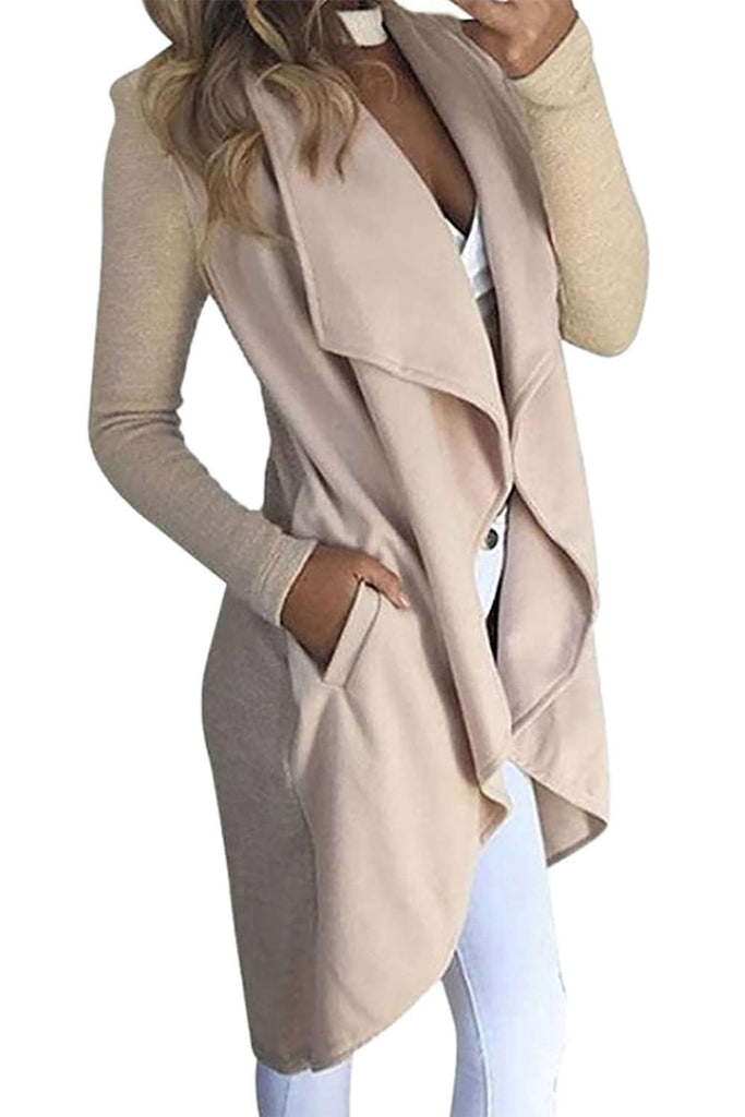 Iyasson Draped Lapel Open Front Cardigan