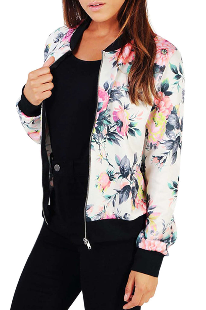 Iyasson Floral Printed Bomber Jacket