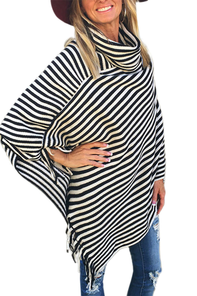 Iyasson Casual Turtleneck Striped Tassels Cape Sweater