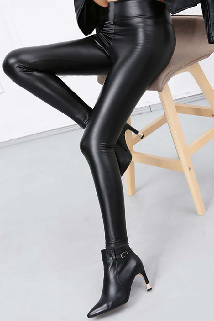 Iyasson PU Leather High Waisted Leggings