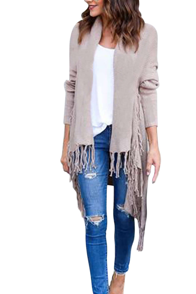 Iyasson Irregular Open Front Tassel Knitted Cardigan