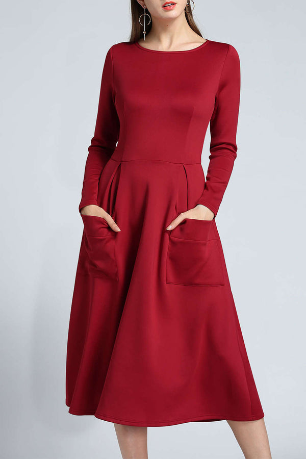 Iyasson Long Sleeve A-Line Midi Dress