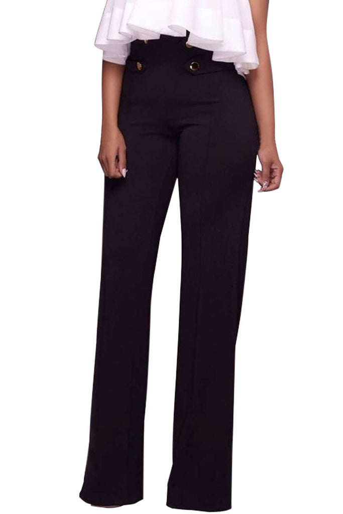 Iyasson Solid High Waist Zipper Flare Pants