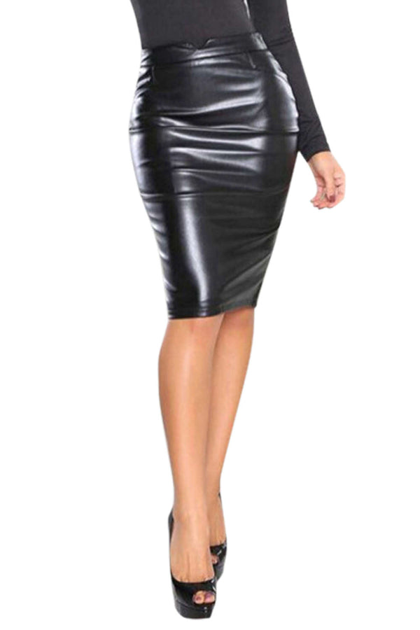 Iyasson Women Midi Pencil Skirt in Leather