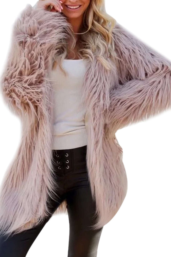 Iyasson Long Sleeve Faux Fur Warm Coat