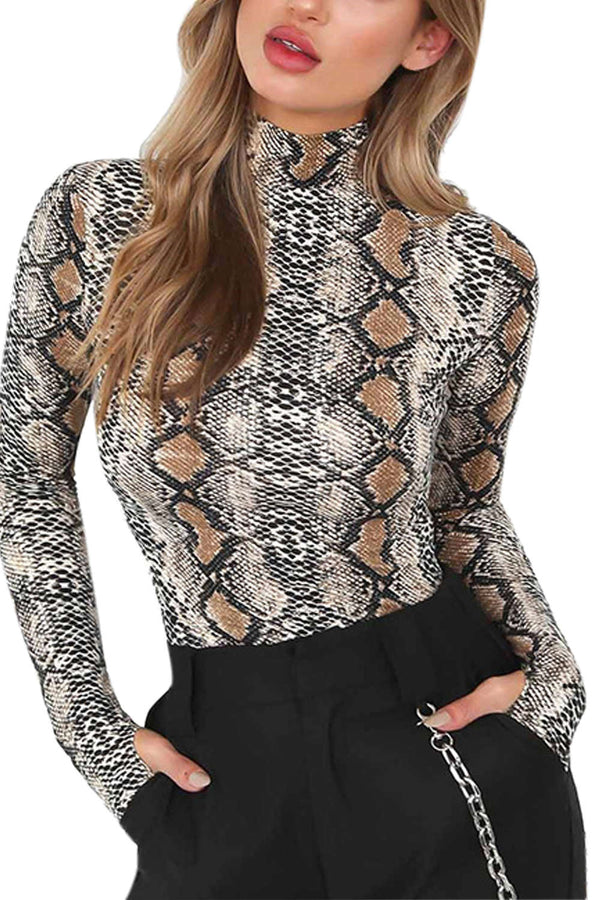 Iyasson Womens Long Sleeve Snake Pattern Bodysuit