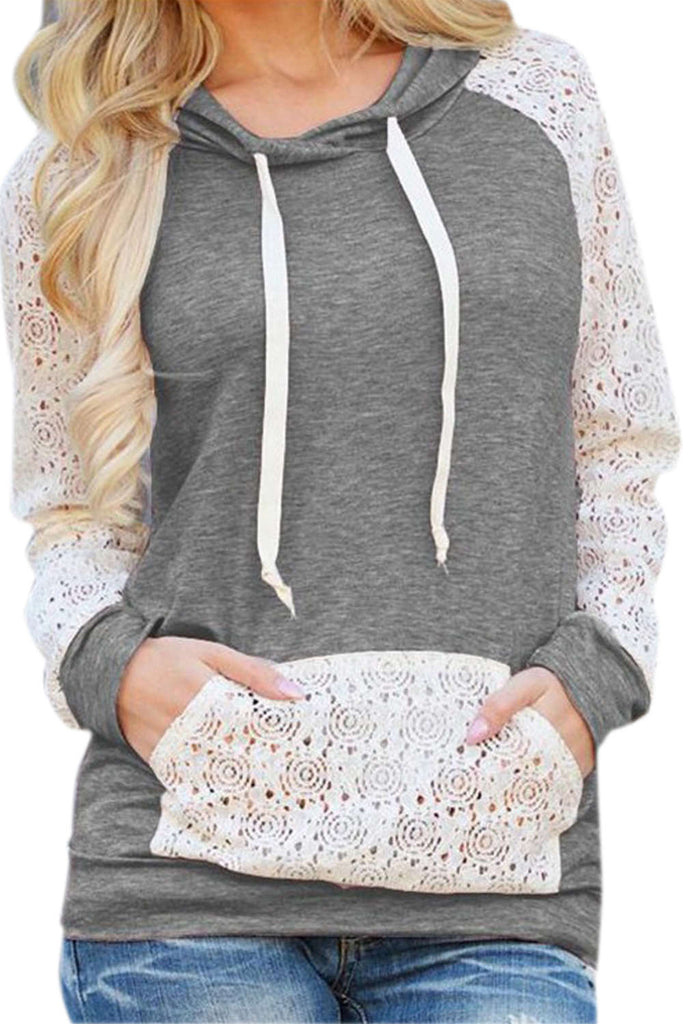 Iyasson Lace Splicing Raglan Sleeves Hoodie