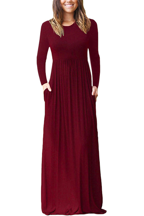 Iyasson Long Sleeve Maxi Dress with Pockets