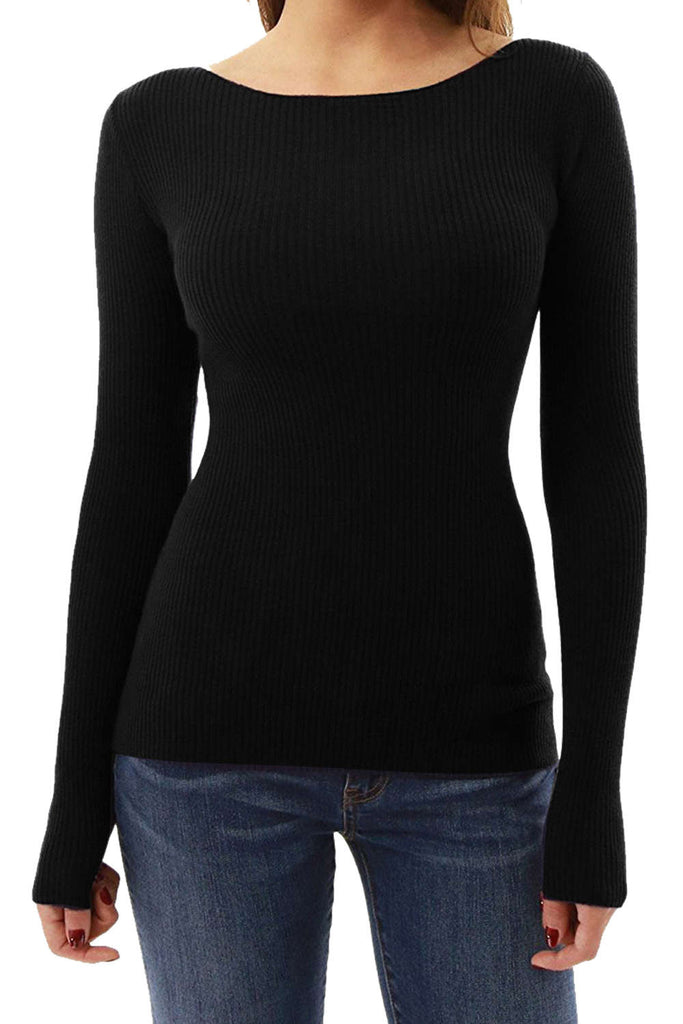 Iyasson Long Sleeve Boat Neck Tops
