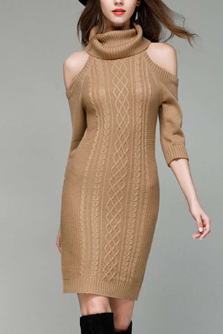 Iyasson Cold Shoulder Roll Neck Knit Dress