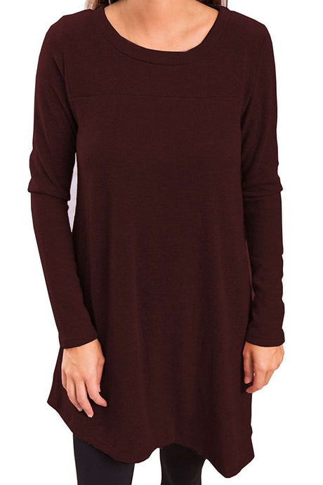 Iyasson Long Sleeve Asymmetric Hem Knit Dress