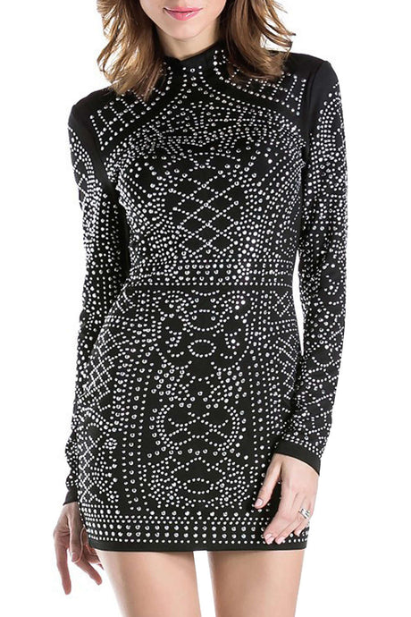 Iyasson Allover faux Diamond Embellished Mini Dress