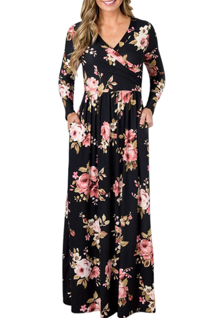 Iyasson Floral Printed Long Sleeve Maxi Dress