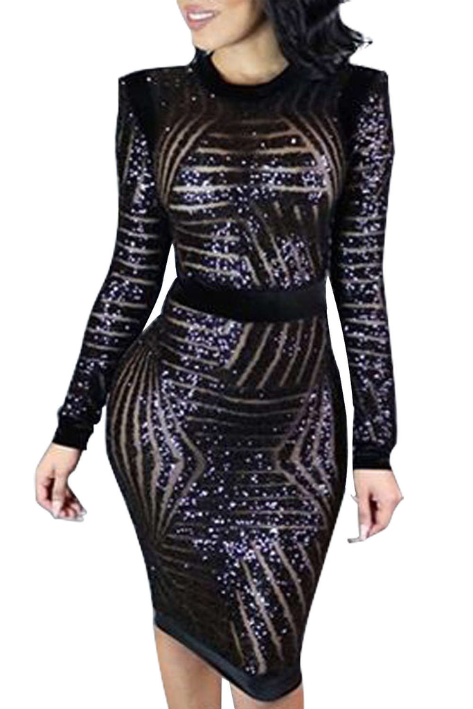 Iyasson Sexy Sequined Body-Con Dress Dress