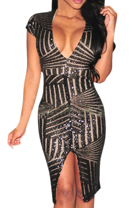 Iyasson Six Deep V-Neck Sequined Dress
