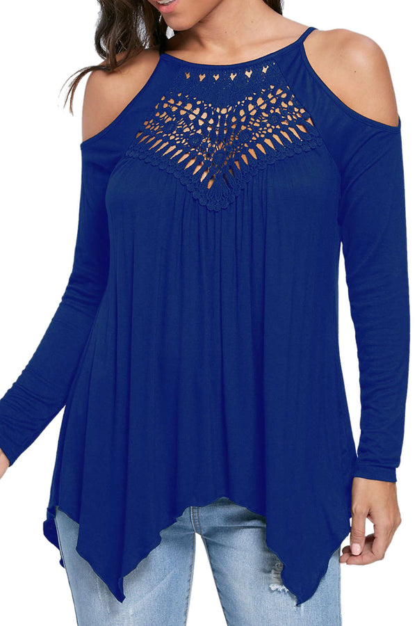 Iyasson Lace Hollow Out Cold Shoulder Blouse