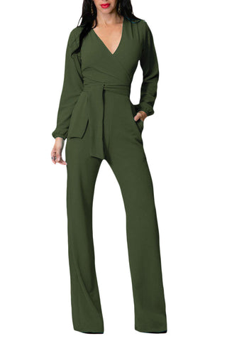 Iyasson Long Sleeve Wide Leg Belted Jumpsuit