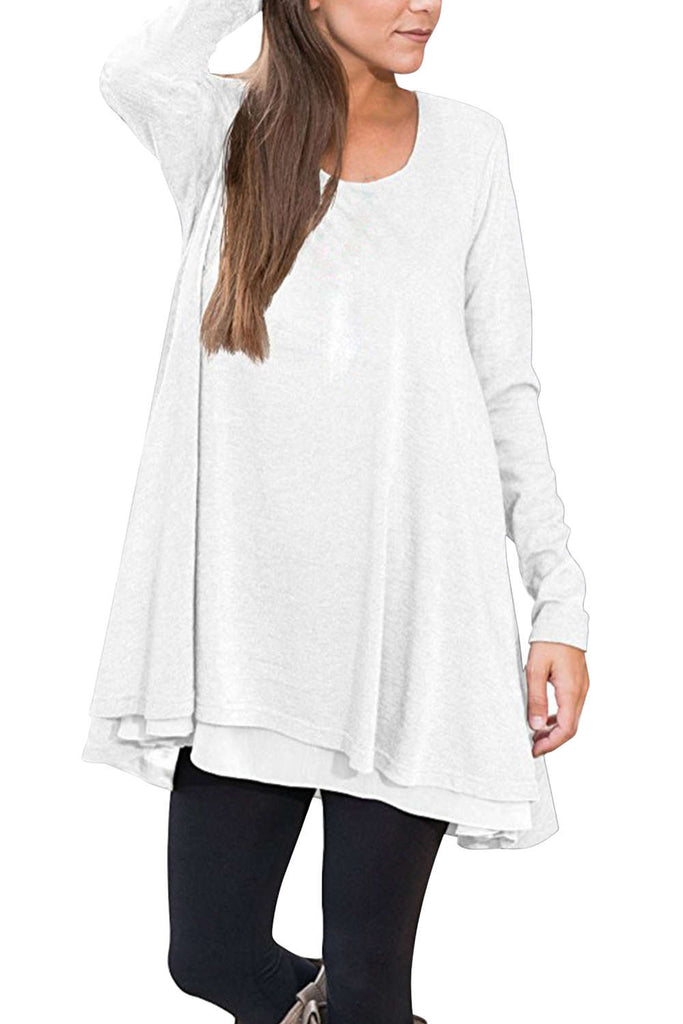 Iyasson Long Sleeve Layered Scoop Neck Tunic Dress
