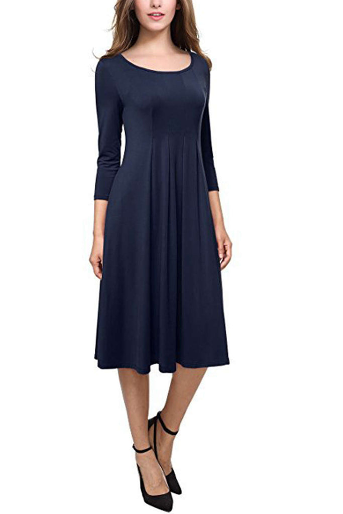 Iyasson Swing 3/4 Sleeve Midi Dress