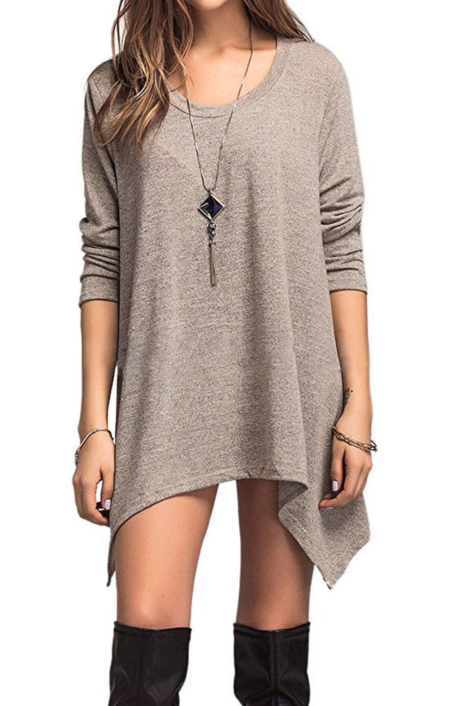 Iyasson 3/4 Sleeve Curved Hem Tunic Dress