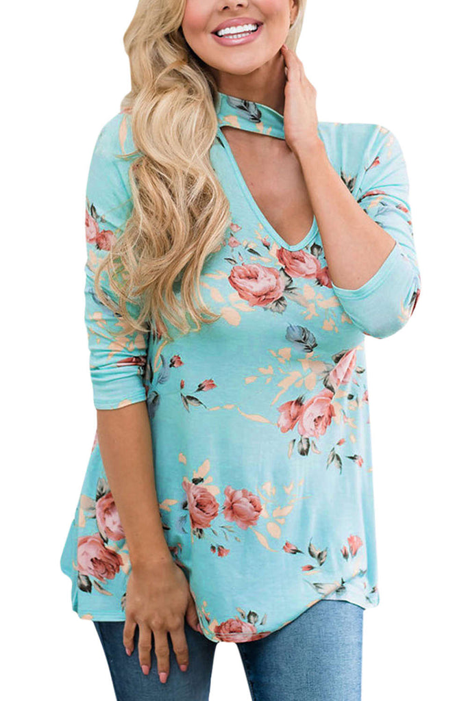 Iyasson Choker Neck Floral Printed Blouse