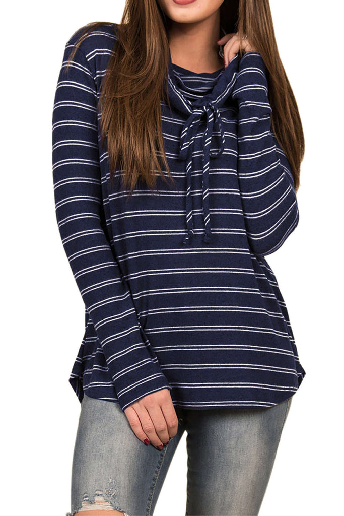 Iyasson Long Sleeve Striped Cowl Neck Pullover