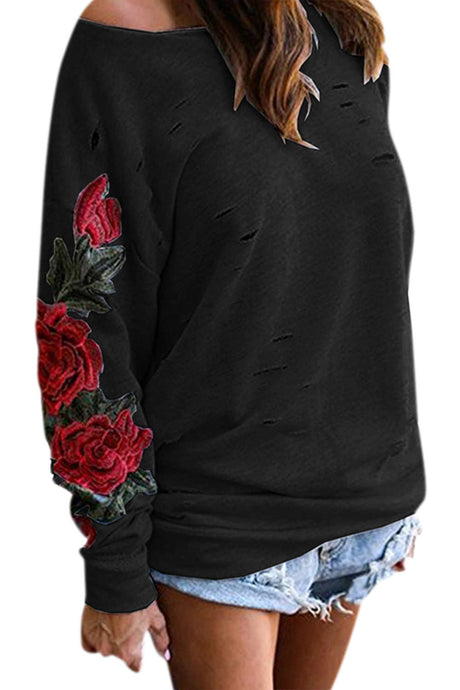 Iyasson Flora Embroidery One-shoulder Hoodie