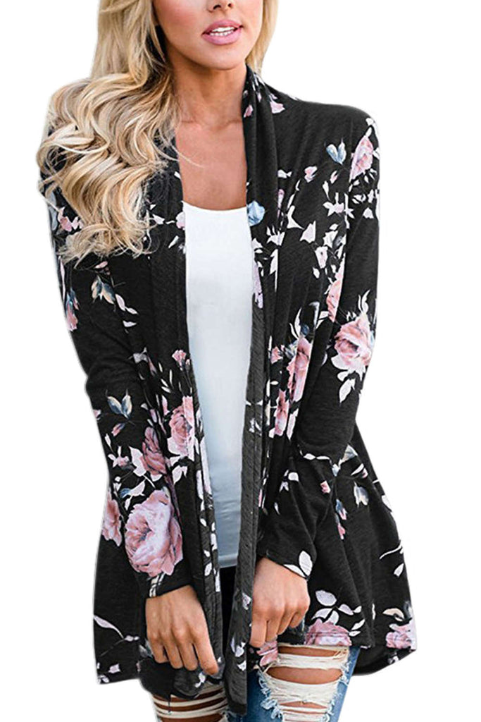 Iyasson Women's Casual Long Sleeve Floral Wrap Cardigan Blouse Tops