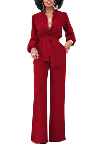 Iyasson Women Long Sleeve Wide Leg Long Jumpsuits With Belt