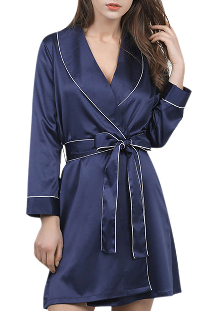 Iyasson Long Sleeve Contrast Piping Robe