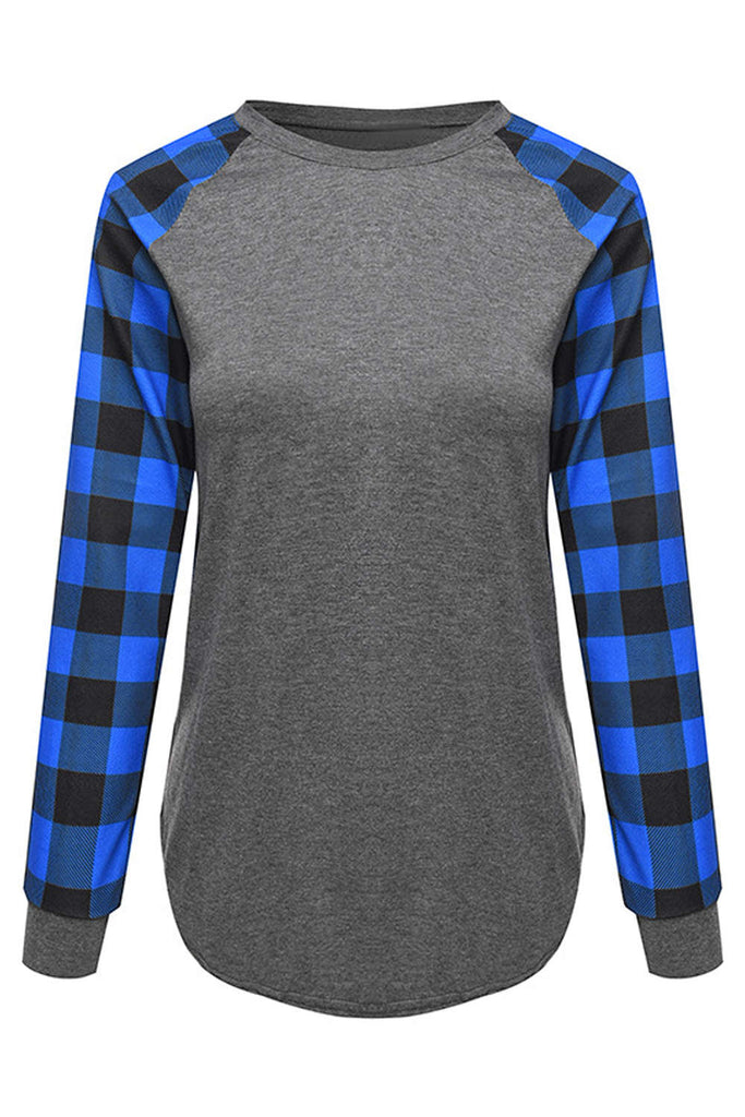 Iyasson Women's Plaid Sleeve T-shirts