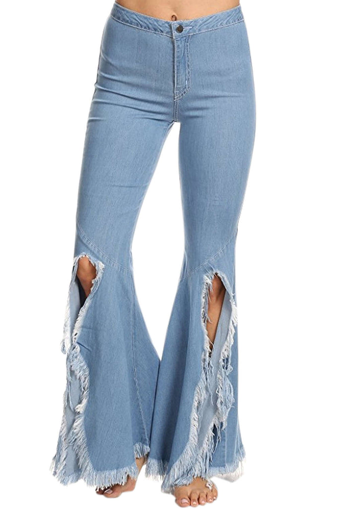 Iyasson Women's High Rise Ripped Holes Jeans