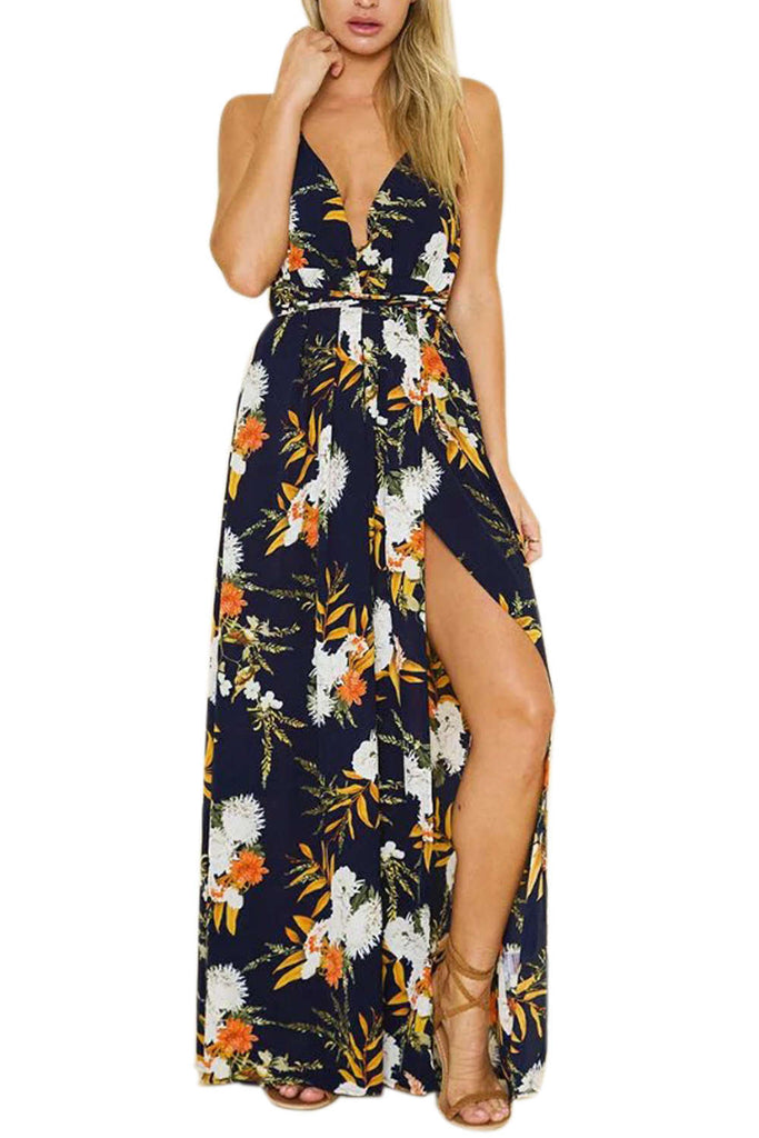 Iyasson Deep V neck Flora Print Maxi Dress
