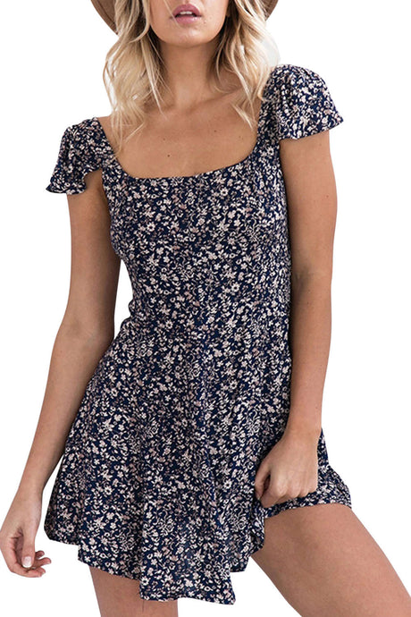 Iyasson Alover Floral Print Mini Dress